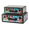 Quickway Imports World Stamp Travel Suitcase (Set of 2)