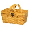 Quickway Imports Woodchip Picnic Basket with Folding Handles