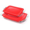 Pyrex Easy Grab 4 Piece Oblong Bakeware Set with Plastic Cover