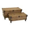 UMA Enterprises Study 2 Piece Wood and Metal Trunk