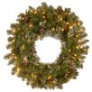 """National Tree Co. Crystal Pine Pre-Lit 30"""" Wreath with 100 Clear Lights"""