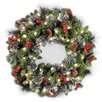 "National Tree Co. Crestwood Spruce Pre-Lit 24"" Wreath with Clear Lights"