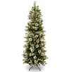 National Tree Co. Wintry Pine 7.5' Green Slim Artificial Christmas Tree with 400 Pre-Lit Clear Lights with Stand