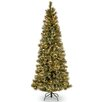 National Tree Co. Glittery Bristle Pine 7.5' Green Slim Artificial Christmas Tree with 600 Soft White LED Lights with Stand