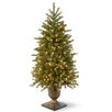 National Tree Co. Jersey Fraser Fir 4' Green Entrance Artificial Christmas Tree with 100 Pre-Lit Clear Lights with Urn Base