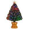 National Tree Co. Evergreen Fiber Optic Firework 3' Green Artificial Christmas Tree with Multicolor Lights with Base