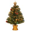 "National Tree Co. Fiber Optic Fireworks 2' 8"" Green Artificial Christmas Tree with Multicolor Light"
