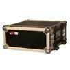 "Tour Wood Flight 4U 19.25"" Deep Audio Road Rack Case with Wheels"