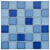 """EliteTile Pool 2"""" x 2"""" Porcelain Glazed Mosaic in Marine"""