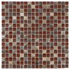 "EliteTile Sierra 5/8"" x 5/8"" Glass and Stone Polished Mosaic in Bordeaux"