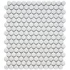 "<strong>EliteTile</strong> Retro 3/4"" x 3/4"" Glazed Porcelain Penni Mosaic in Matte White"