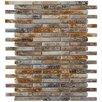"""EliteTile Arcadia 3-1/2"""" x 1/2"""" Glazed Porcelain Brick Mosaic in Noce Slate"""
