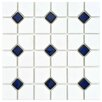EliteTile Cambridge Random Sized Glazed Porcelain Mosaic with Cobalt Dot