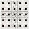 EliteTile Retro Random Sized Glazed Porcelain Spiral Mosaic in White and Black