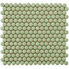 "EliteTile Penny 3/4"" x 3/4"" Glazed Porcelain Mosaic in Moss Green"