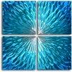 My Art Outlet Shimmering Blue Dahlia Desire 4 Piece Original Painting Plaque Set