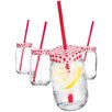 Home Essentials and Beyond He 15 Oz. Gingham Jar with Straw (Set of 4)