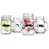 Home Essentials and Beyond He 4 Piece Mustache 16 Oz. Handle Jar Set