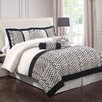 <strong>Flocked Bows Comforter Set with Bonus Pillows</strong> by Monroe