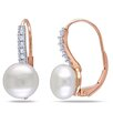 <strong>Amour</strong> 10K Round Cut Diamond and Pearl Dangle Earrings
