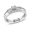 <strong>Amour</strong> Sterling Silver Princess and Round Cut Diamond Bridal Ring