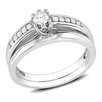 Amour Sterling Silver Round Cut Diamond Bridal Ring