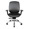 At The Office One Series Mid-Back Leather Office Chair with Pivot Armrests