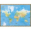 York Wallcoverings Portfolio II Topographical World Map with Animal Pictures Wall Mural