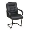 Office Star Products Faux Leather Mid Back Managers Chair with Padded Flip Arms