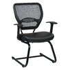"Office Star Products Space Seating 18.5"" Professional AirGrid Back Visitors Chair with Eco Leather Seat"