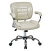 Office Star Products Faux Leather Task Chair with Padded Arms and Chrome Accents