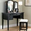 <strong>Powell Furniture</strong> Antique Black Vanity Set with Mirror