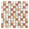 "Travertine Glass 12"" x 12"" Mosaic in Henna Matte"