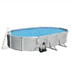 Swim Time Samoan 12-ft x 24-ft Oval 52-in Deep 8-in Top Rail Metal Wall Swimming Pool Package