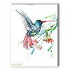 Americanflat Hummingbird and Flowers Painting Print on Canvas