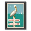 Americanflat Pelican Sign Post Framed Graphic Art