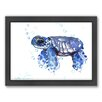 Americanflat Tortoise Small by Suren Nersisyan Framed Painting Print in Blue
