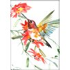 Americanflat Hummingbird Flowers by Suren Nersisyan Painting Print in Red