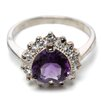 Jewelryweb Sterling Silver Amethyst and CZ Heart Ring