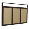 Ghent 3-Door Aluminum Frame Enclosed Bulletin Board with Headliner - Natural Cork