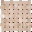MS International Basket Weave Mesh Mounted Random Sized Natural Stone Glossy and Polished Mosaic in Crema Cappuccino
