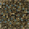 "12"" x 12"" Polished / Crystallized Glass Mosaic in Emperador Dark Blend"