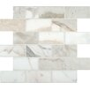 "MS International Calacatta Gold Mounted 4"" x 2"" Marble Mesh Polished Mosaic in White"
