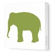 Avalisa Silhouettes Elephant Stretched Canvas Art