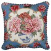 123 Creations Peony Needlepoint Pillow with Border