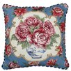 <strong>123 Creations</strong> Rose Needlepoint Pillow with Border