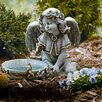 "<strong>Roman, Inc.</strong> 10.75"" Angel Seated with Solar Powered Birdbath Figurine"