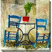 West of the Wind Outdoor Canvas Art Two Blue Chairs Painting Print on Canvas