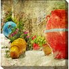 West of the Wind Outdoor Canvas Art Red Vessel Painting Print on Canvas