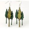 Green Tree Jewelry Layered Redwood Trees Earrings